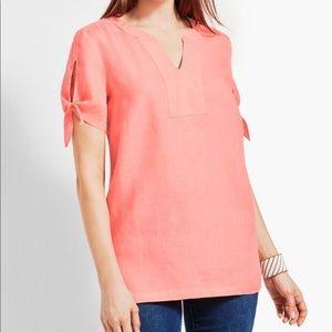 ☀️ Talbots linen tie-sleeve shirt